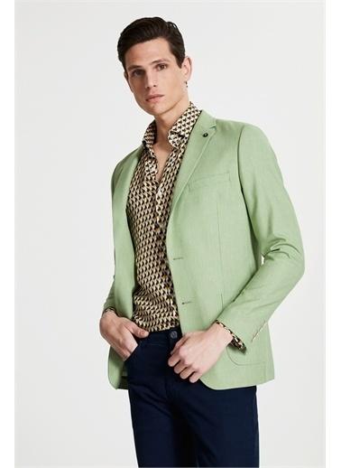 Tween Slim Fit Desenli Kumaş Ceket Yeşil